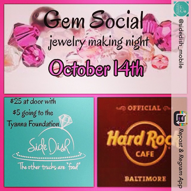 @sidedish_mobile is teaming up with @hrcbaltimore to support Breast cancer awareness month! Join some of the best jewelry designers to customize your own jewelry this Tuesday! For more info go to www.tyanna.org/events