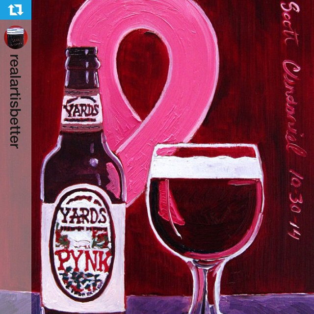 #Repost from @realartisbetter with @repostapp --- Year of #Beer Paintings - Day 303. #Pynk Ale by @yardsbrewing. I'm donating 10% of sales from this painting/prints to the @tyannafoundation for breast cancer research. #Painting and prints for sale at my #Etsy shop (link in profile). #yardsbrewing #savethegirls #breastcancerawarenessmonth #tyannafoundation #philadelphiabeer #pennsylvaniabeer #craftbeer #pinkribbon