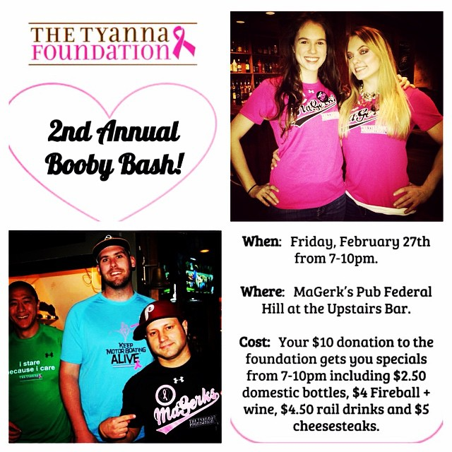 That's right! It's back! Don't miss the 2nd annual BOOBY BASH at @magerkspubfh ! Friday, February 27th. Food and drink specials 7-10pm and a raffle you won't want to miss! #SaveTheGirls #drinkspecials #fedhill