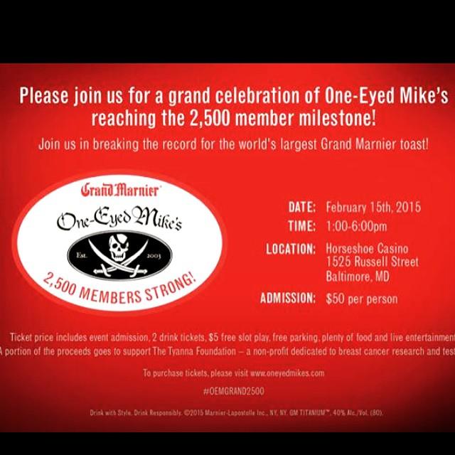 Join us February 15th at the @HorseshoeBmore to celebrate @OneEyedMikes 2,500 membership milestone! #SaveTheGirls For tickets visit www.oneeyedmikes.com #events #baltimore